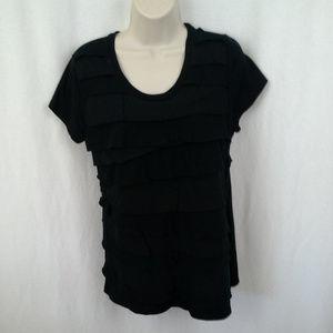 Merona womens t-shirt Ruffle layer tee Sz L Black
